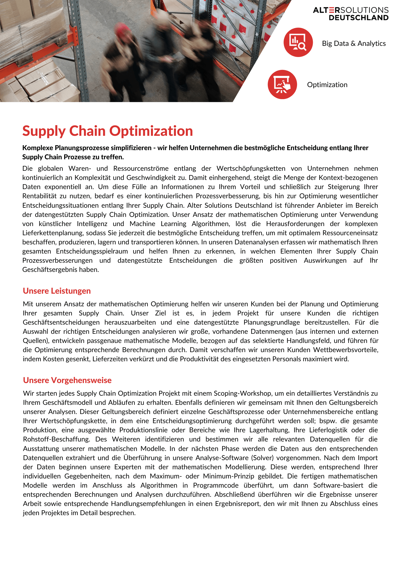 Supply Chain Optimization Broschüre